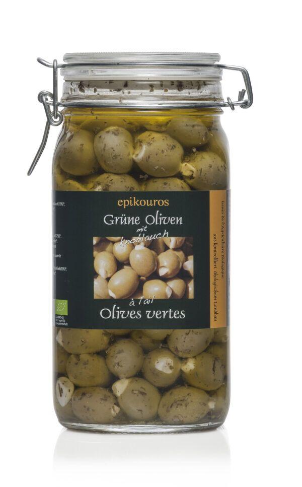 EPIKOUROS Grüne Oliven gefüllt mit Knoblauch, in Kräuteröl, kaltverarbeitet 1,5kg