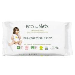 Eco by Naty Feuchttücher unparfümiert, 56 Stück je Packung 4x56Stück