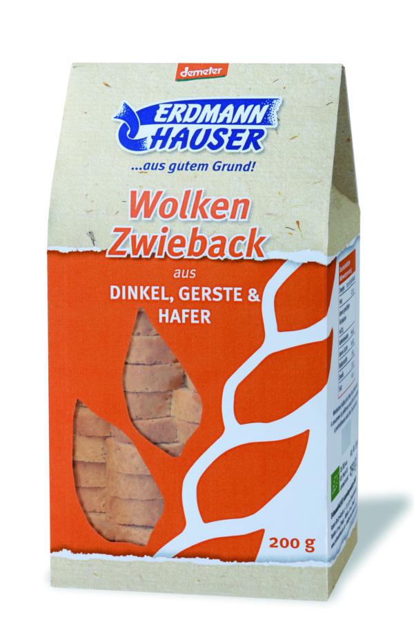 ErdmannHAUSER Getreideprodukte ErdmannHAUSER demeter Wolkenzwieback aus Dinkel, Gerste & Hafer 6x200g