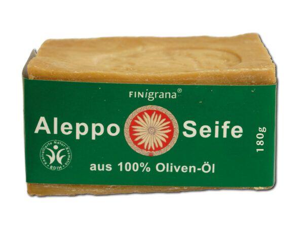 FINigrana® Naturkosmetik Aleppo Seife, reine Olive, 200g traditionell handgeschnitten, für alle Hauttypen 200g