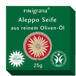 FINigrana® Naturkosmetik Aleppo Seife, reine Olive, 25g Gäste-Geschenk-Hotel- & Tester Seife, 25g in Box 16x25g