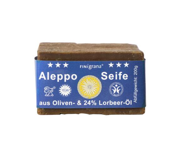 FINigrana® Naturkosmetik FINigrana Aleppo Seife, Olive & 24% Lorbeeröl, 200g traditionell handgeschnitten 12x200g
