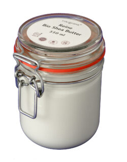 FINigrana® Naturkosmetik Reine Bio Shea-Butter Körperbutter, 350ml im Einmachglas mit Bügelverschluss 350ml