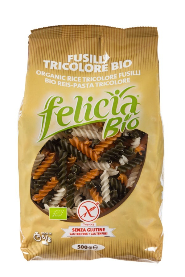 Felicia Bio Reis-Tricolore (3-farbig aus natur, Tomate, Spinat) Fusilli glutenfrei 12x500g