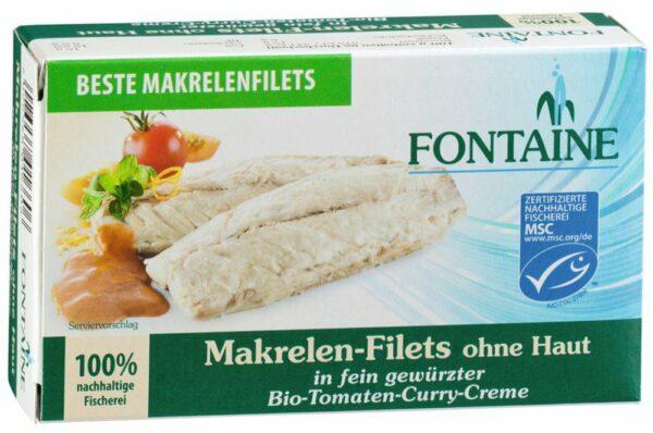 Fontaine Makrelenfilets ohne Haut in Bio-Tomaten-Curry-Creme 125g
