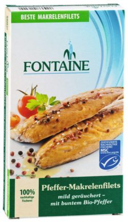 Fontaine Pfeffer-Makrelenfilets in Bio-Sonnenblumenöl 6x190g