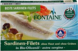 Fontaine Sardinen ohne Haut und Gräten in Bio-Olivenöl 120g