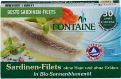 Fontaine Sardinen ohne Haut und Gräten in Bio-Sonnenblumenöl 120g