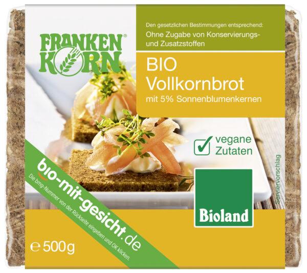 Frankenkorn Bio Vollkornbrot mit 5% Sonnenblumenkernen 500g