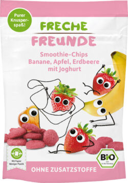 Freche Freunde FF Bio Smoothie-Chips Banane, Apfel, Erdbeere mit Joghurt 12x16g