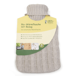 GRÜNSPECHT Naturprodukte GRÜNSPECHT Bio-Wärmflasche 2l aus Naturkautschuk mit Bezug aus 100 % Baumwolle (kbA) 1Stück