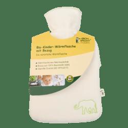 GRÜNSPECHT Naturprodukte GRÜNSPECHT-Bio-Kinder-Wärmflasche 0,8 l aus Naturkautschuk, mit Bezug aus 100 % Baumwolle (kbA) 1Stück