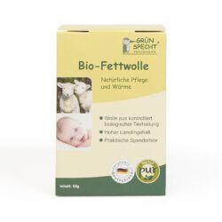 GRÜNSPECHT Naturprodukte GRÜNSPECHT Bio-Fettwolle kbT 50 g, in Wiederverschließbarer Spenderbox, Hergestellt in Deutschland 87,3g