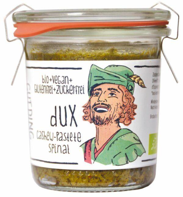 GUTDING Dux, Bio Cashew-Pastete Spinat im original Weck-Glas, vegan, glutenfrei, ohne Zuckerzusatz 6x100g