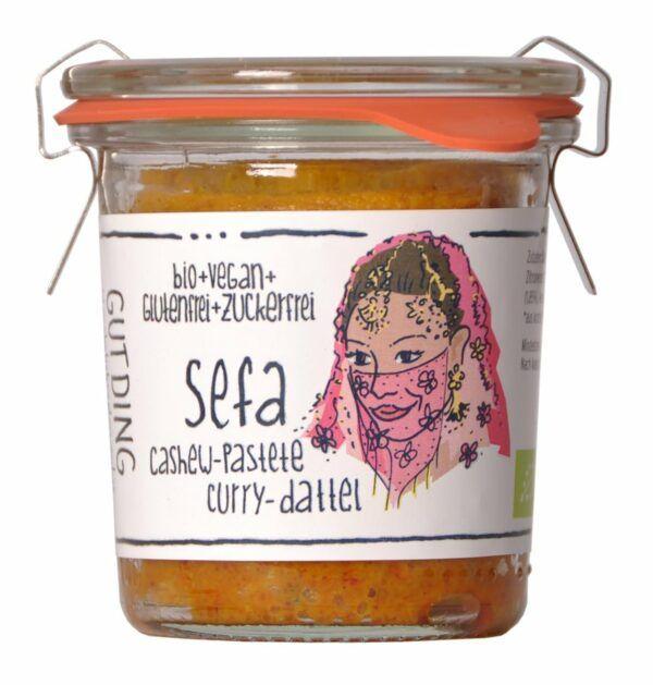 GUTDING Manufaktur Sefa, Bio Cashew-Pastete Curry-Dattel im original Weck-Glas, vegan, glutenfrei, 6x100g