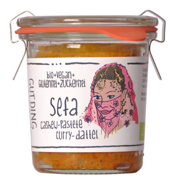 GUTDING Sefa, Bio Cashew-Pastete Curry-Dattel im original Weck-Glas, vegan, glutenfrei, ohne Zuckerzusatz 6x100g