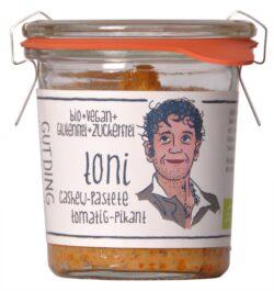 GUTDING Toni, Bio Cashew-Pastete tomatig-pikant im original Weck-Glas, vegan, glutenfrei, ohne Zuckerzusatz 6x100g