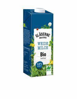 Gläserne Molkerei Bio-Weidemilch, 3,8 % Fett, haltbar 12x1l