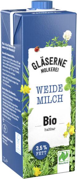 Gläserne Molkerei Bio-Weidemilch, 3,5 % Fett, haltbar 12x1l
