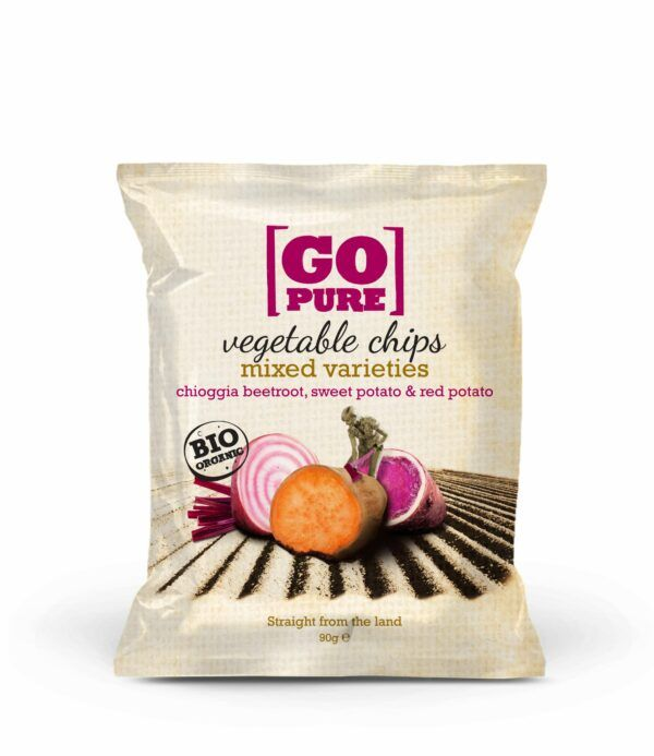GoPure Vegetable chips mixed varieties chioggia beetroot, sweet potato & red potato 6x90g