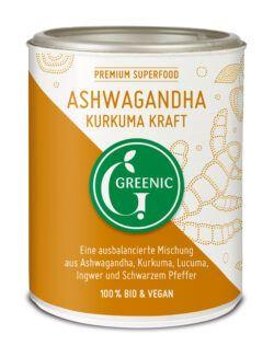 Greenic Ashwagandha Kurkuma Kraft Superfood Trinkpulver Mischung 130g