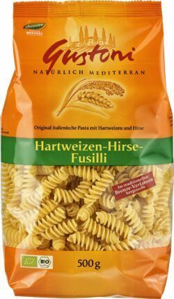 Gustoni Hartweizen-Hirse-Fusilli, Original italienische Pasta mit Hartweizen und Hirse 12x500g