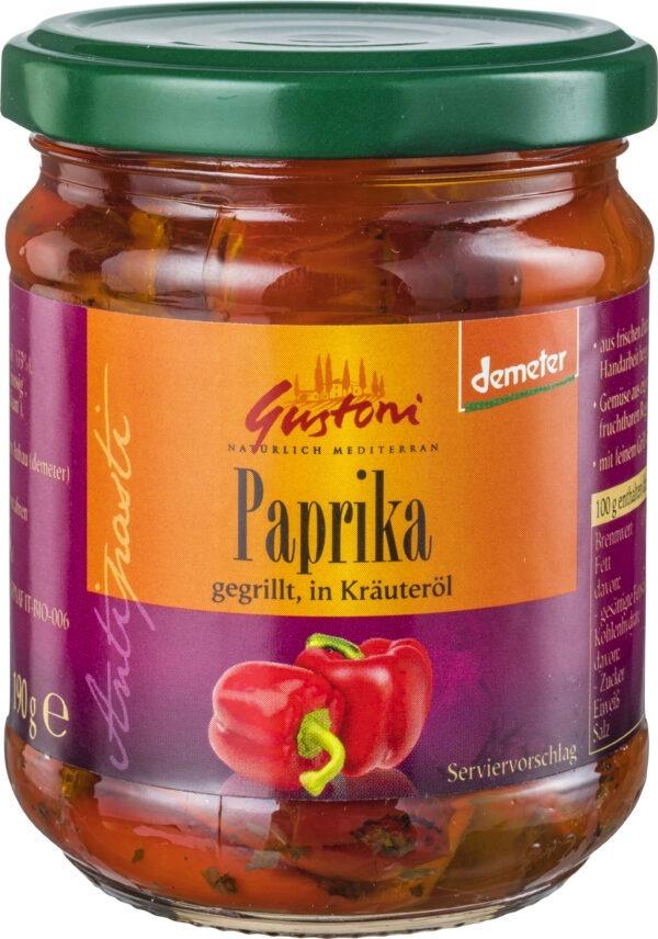 Gustoni Paprika gegrillt, in Kräuteröl 190g