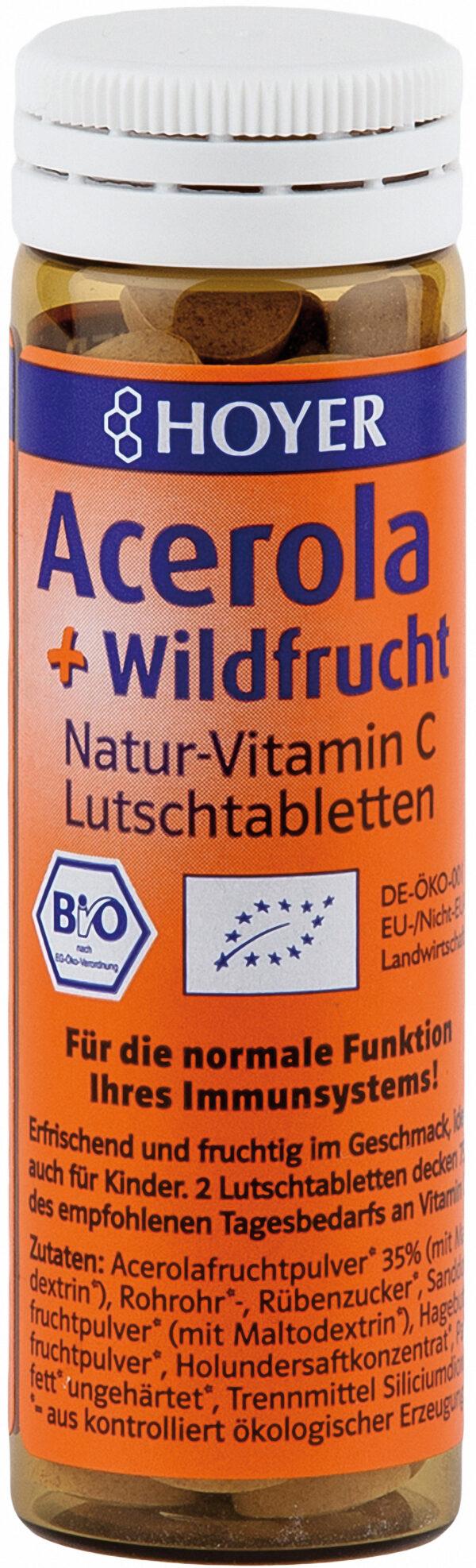 HOYER Acerola + Wildfrucht Lutschtabletten Nahrungsergänzungsmittel 8x30g