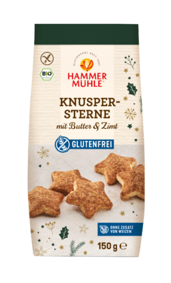 Hammermühle Bio Knuspersterne mit Butter und Zimt, gf 8x150g