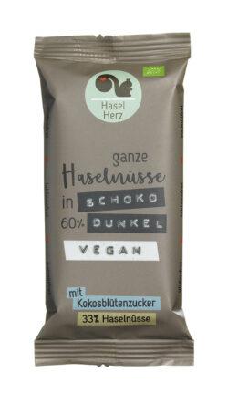 HaselHerz Veganer Schokoriegel dunkel mit Haselnüssen - gesüsst mit Kokosblütenzucker 8x40g