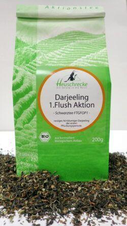 Heuschrecke Darjeeling 1. Flush, Schwarztee, Aktion, kbA 20x200g