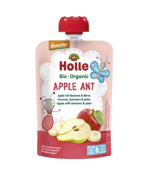Holle Apple Ant - Pouchy Apfel & Banane mit Birne 12x100g