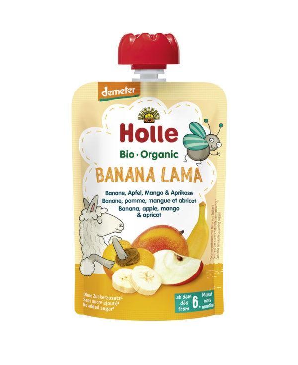 Holle Banana Lama -Pouchy Banane, Apfel, Mango & Aprikose 12x100g