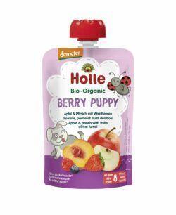 Holle  Berry Puppy - Pouchy Apfel & Pfirsich mit Waldbeeren 12x100g