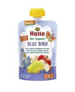 Holle  Blue Bird - Pouchy Birne, Apfel & Heidelbeer mit Hafer 12x100g