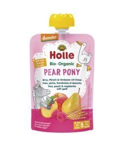 Holle  Pear Pony - Pouchy Birne, Pfirsich & Himbeere mit Dinkel 12x100g