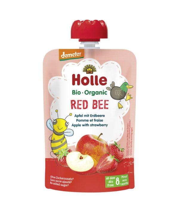 Holle  Red Bee - Pouchy Apfel, Erdbeere 12x100g