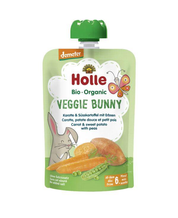 Holle Veggie Bunny - Pouchy Karotte & Süsskartoffel mit Erbsen 12x100g