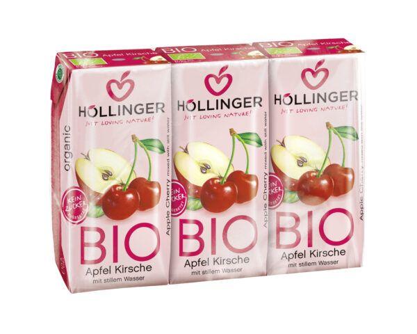 IMS Höllinger Bio Apfel-Kirsch-Direktsaft 3*200ml naturtrüb mit stillem Wasser. Fruchtgehalt min. 60% 8x600ml