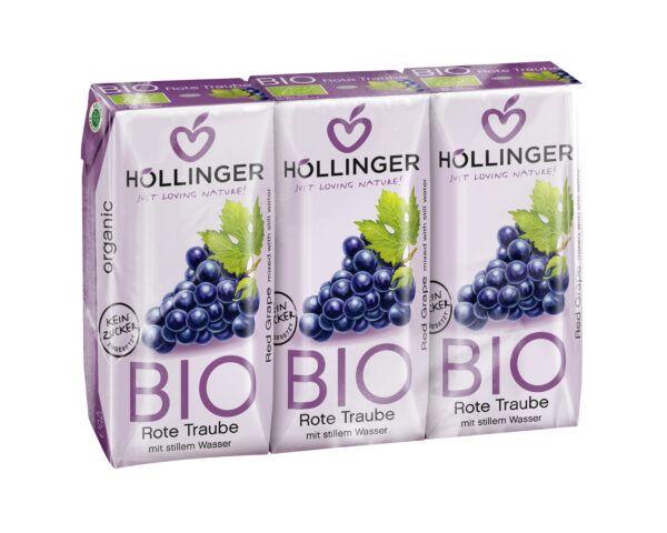 IMS Höllinger Roter Bio Traubendirektsaft 3*200ml mit stillem Wasser. Fruchtgehalt mind. 60%. 8x600ml