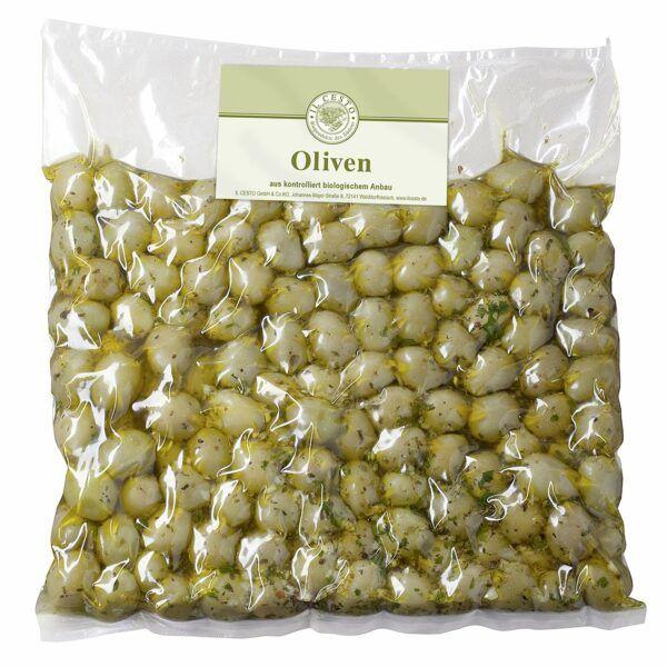 Il Cesto Griech. Oliven grün mariniert entsteint 1,15kg
