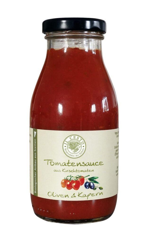 Il Cesto Tomatensauce aus Kirschtomaten mit Oliven und Kapern 250ml