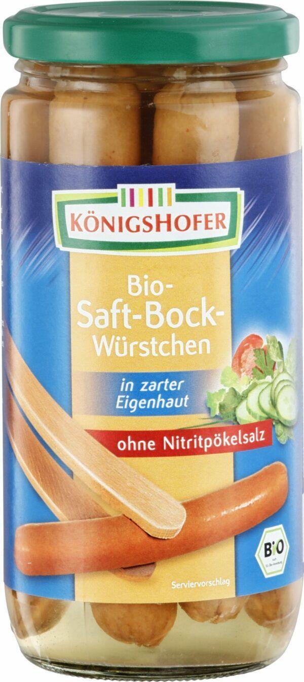Königshofer Saftbockwürstchen in zarter Eigenhaut, geräuchert, ohne Nitritpökelsalz 400g