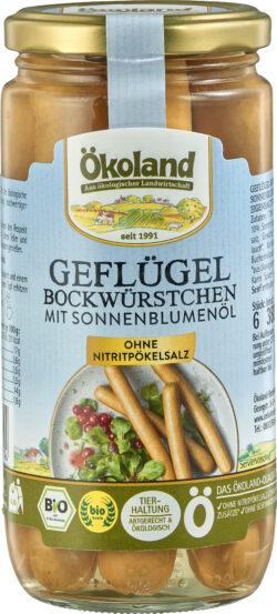 ÖKOLAND Geflügel-Bockwürstchen mit Sonnenblumenöl in zarter Eigenhaut 12x380g