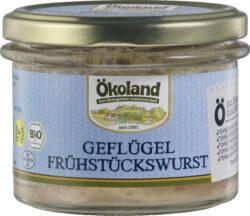 ÖKOLAND Geflügel-Frühstückswurst nach Sülze Art, fein zerkleinert, Gourmet-Qualität 6x160g