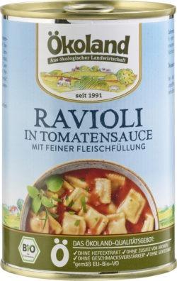 ÖKOLAND Ravioli mit fleischhaltiger Füllung in Tomatensauce 6x400g