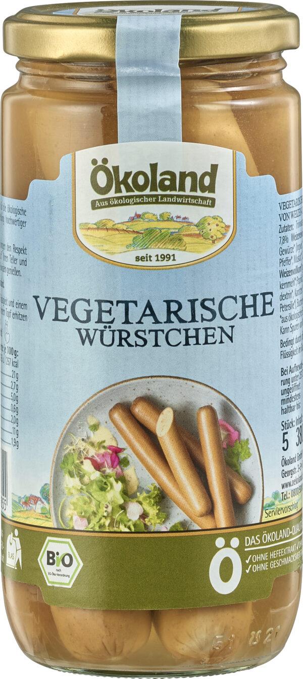 ÖKOLAND Vegetarische Würstchen mit Weizen- und Eieiweiß 380g