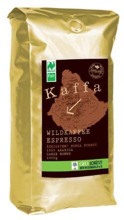 Kaffa Wildkaffee , Espresso, ganze Bohne, 1000g, bio- und Naturland Fair-zertifiziert 6x1000g