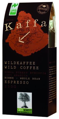 Kaffa Wildkaffee , Espresso, ganze Bohne, 250g, bio- und Naturland Fair-zertifiziert 10x250g