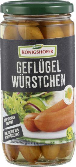 Königshofer Geflügelwürstchen, mild geräuchert, ohne Zusatz von Nitritpökelsalz 6x390g